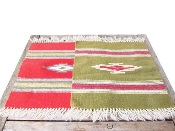 Vintage Woven Placemats  Southwestern Fabric Placemat