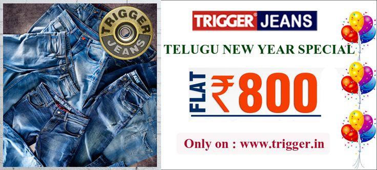 Branded trigger jeans present  Telugu new year mega sale...  Hurry up !!!