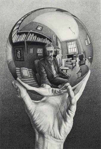 Titulo: mano con esfera reflectante.  Tecnica: tinta sobre papel. Año:1935.   Autor: Maurits Cornelis Escher.