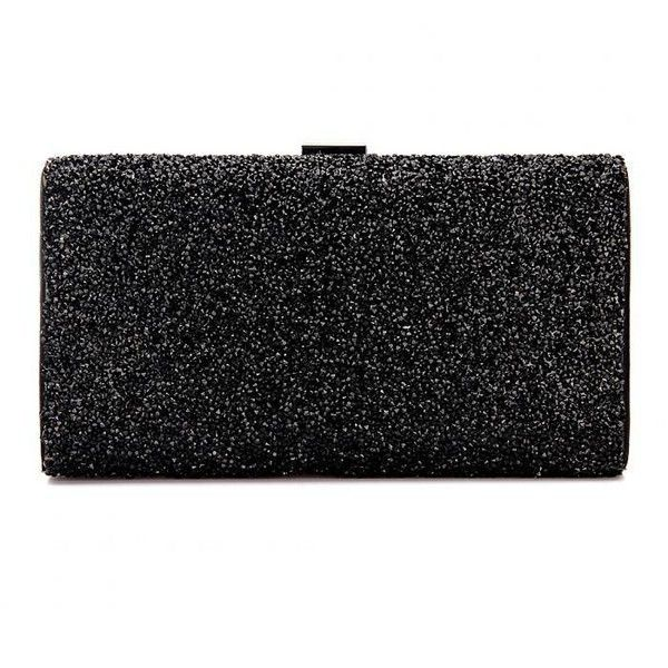 Yoins Sparkle Occasion Box Clutch Bag ($32) ❤ liked on Polyvore featuring bags, handbags, clutches, black, party purse, party handbags, party clutches, sparkly purses and hard clutch