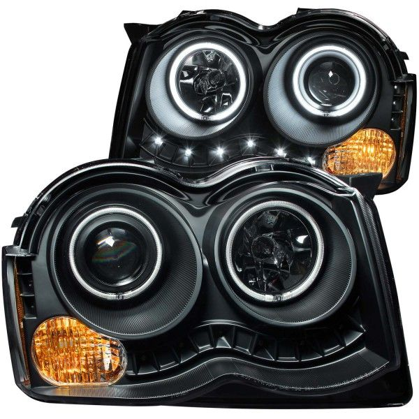 2008-2009 Jeep Grand Cherokee Black CCFL Halo Projector Headlights for SUV/Truck/Crossover | Anzo | (pair)