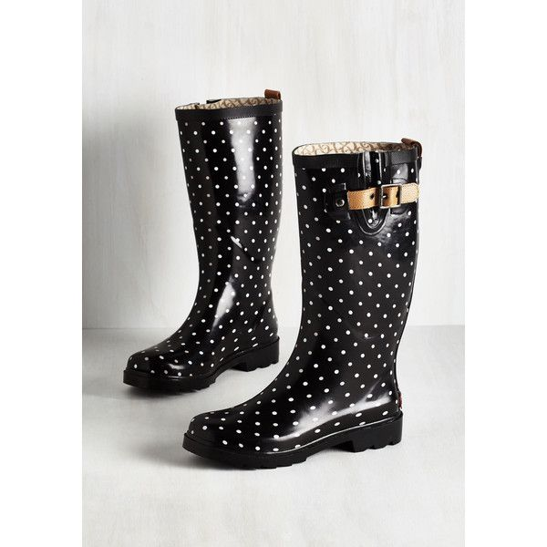 ModCloth Darling Puddle Jumper Rain Boot (92 CAD) ❤ liked on Polyvore featuring shoes, boots, black, boot - bootie, flat boot, waterproof ankle boots, ankle boots, wellington boots, black rain boots and black boots