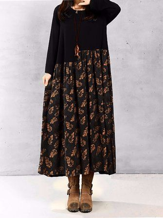 Women Vintage Floral Printed Patchwork Long Sleeve Maxi Dress at Banggood