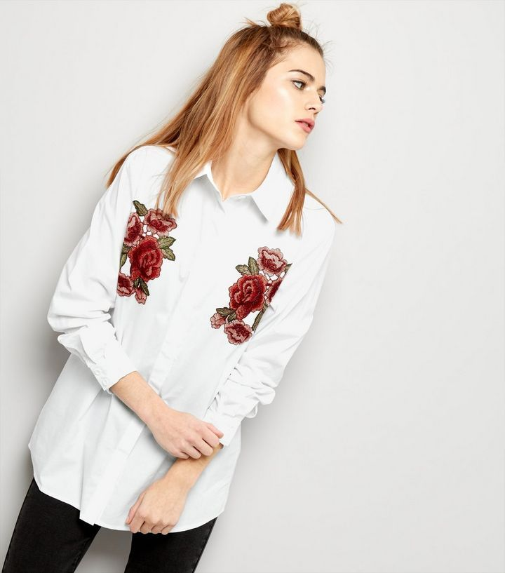 Parisian White Embroidered Badge Shirt | New Look