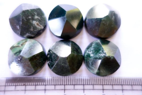 Moss Agate Flat base faceted Circles by CrystalYantra on Etsy