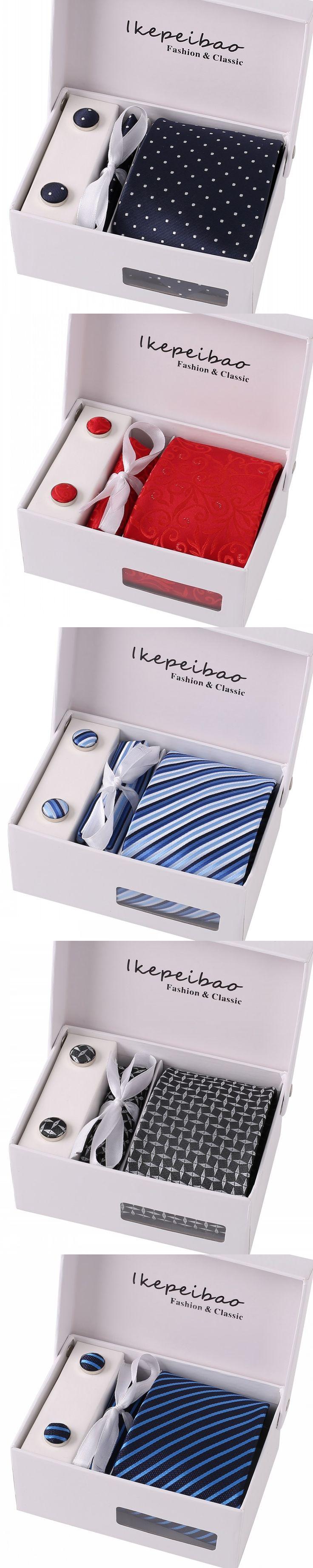 Men Ties Gray Black Star Necktie Sets Cufflink Hanky Neckwear Corbatas Gravata Hombre Jacquard Woven  Business Wedding Holiday