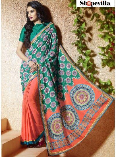 Orange & Sea Green Bangalore Silk Classic Printed Saree-611