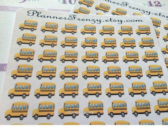 182 School Bus Stickers!  - A perfect fit for any planner! Erin Condren, Plum Paper, Filofax, Kikki K, or Calendar!