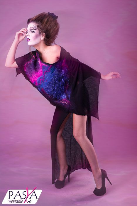 PASYA Wearable Art  Designed by Asia Prusinowska  Photographer: Vanessa Mills  Model: VickyBModel Hair: Phie's Salon Make Up: Freya Goodacre  #couture #bespoke #wearableart #Prusinowska #Pasya #dress #felt #fashion