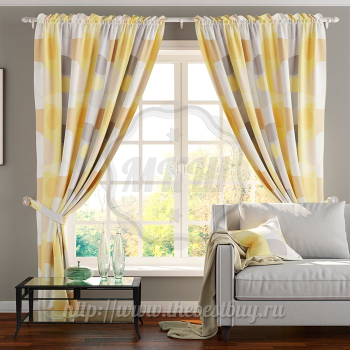 Шторы для гостиной: Флабер (арт. BL07-21-01) - (145х270)х2 см. - желтые