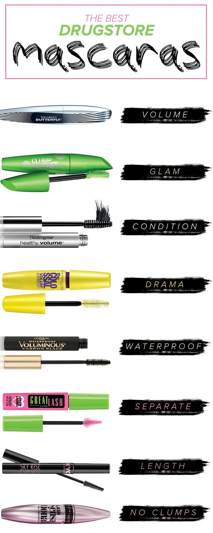 These are the best drugstore mascaras on the market. Whether you're looking for lengthening, waterproof or volume, these are the top mascaras you should try.