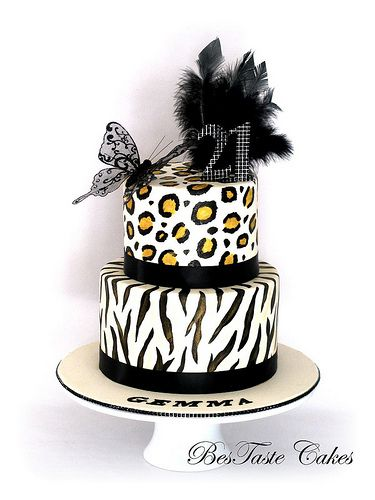Leopard Zebra print cake