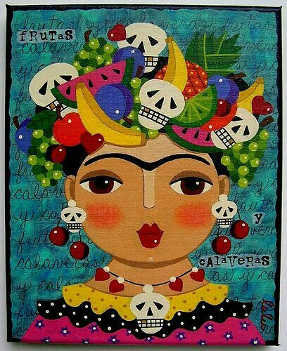 Frida Kahlo Fruits And Skulls 8 X 10 Giclee PRINT Of Painting By LuLu Mypinkturtle