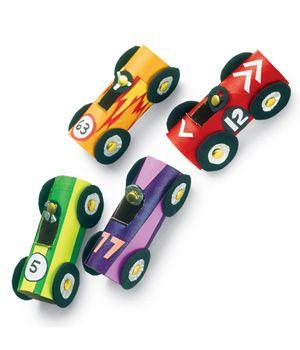 17 Fun March Break Craft Ideas including cardboard tube race cars!