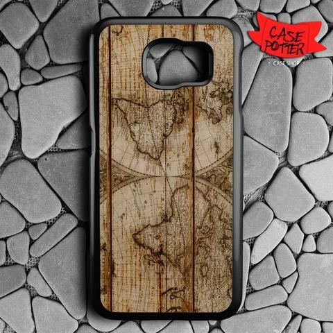 Old World Map Wood Samsung Galaxy S6 Black Case