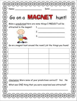 Magnet hunt in your classroom! Take students through the scientific process: predict, record results, and make a conclusion!