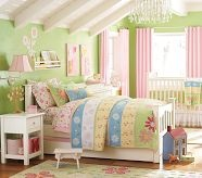 Like rooms with green walls and pink accents