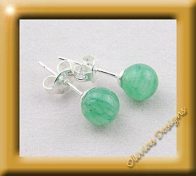 Sterlingsilber, Ohrstecker, Silber 925, Ohrringe 6mm Aventurin  #gold #necklace #earstuds #emerald #ohrstecker #olivias #schmuck #saphir #rubin #sapphire