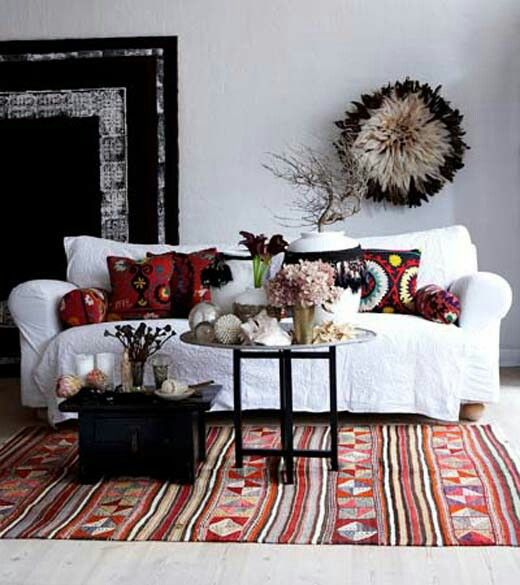 White Black And Red Boho Living Room Bohemian Tribal Print