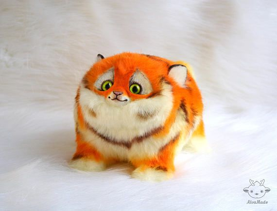 Fat tiger cat handmade toy. creature doll. by AlvaMade