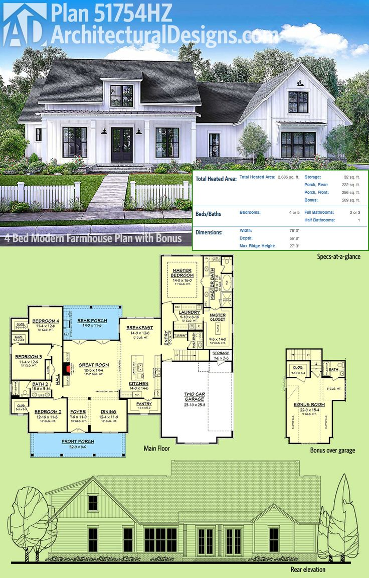 Architectural Designs Modern Farmhouse Plan 51754HZ gives you over 2,600 square feet of living space plus a bonus room over the garage giving you a great play room or a 5th bedroom.  Ready when you are. Where do YOU want to build?
