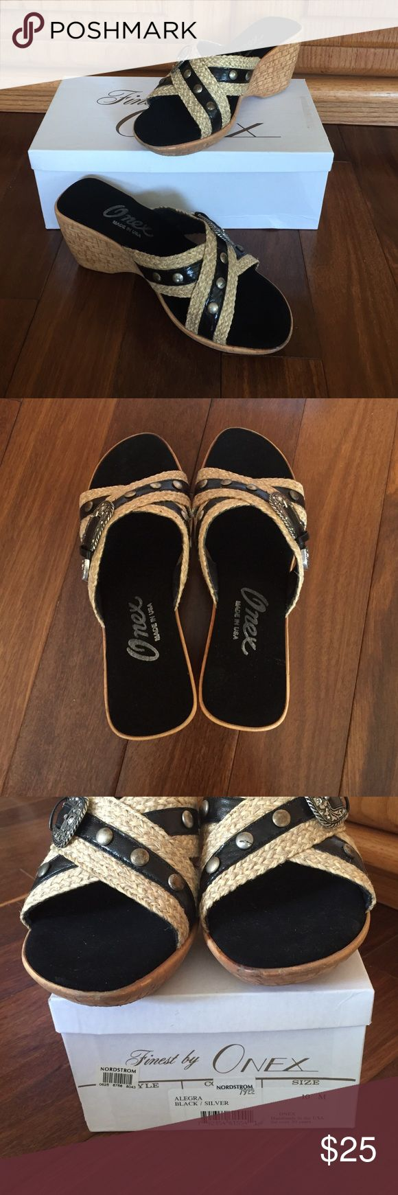Black sandals Never worn. Super cute and comfortable for the summer. From Nordstroms Finest by Onex Shoes Sandals