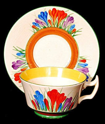 Clarice Cliff Cup and saucer in the Crocus pattern and Athens shape