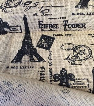 Utility Fabric Eiffel Tower Laminated Burlap Sewing