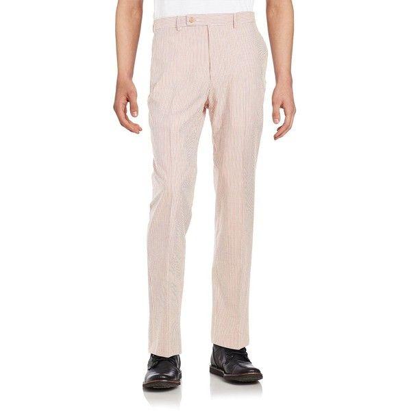 Lauren Ralph Lauren Men's Seersucker Pants ($30) ❤ liked on Polyvore featuring men's fashion, men's clothing, men's pants, men's casual pants, red, mens seersucker pants, mens red pants, mens lightweight pants, mens elastic waistband pants and mens pants