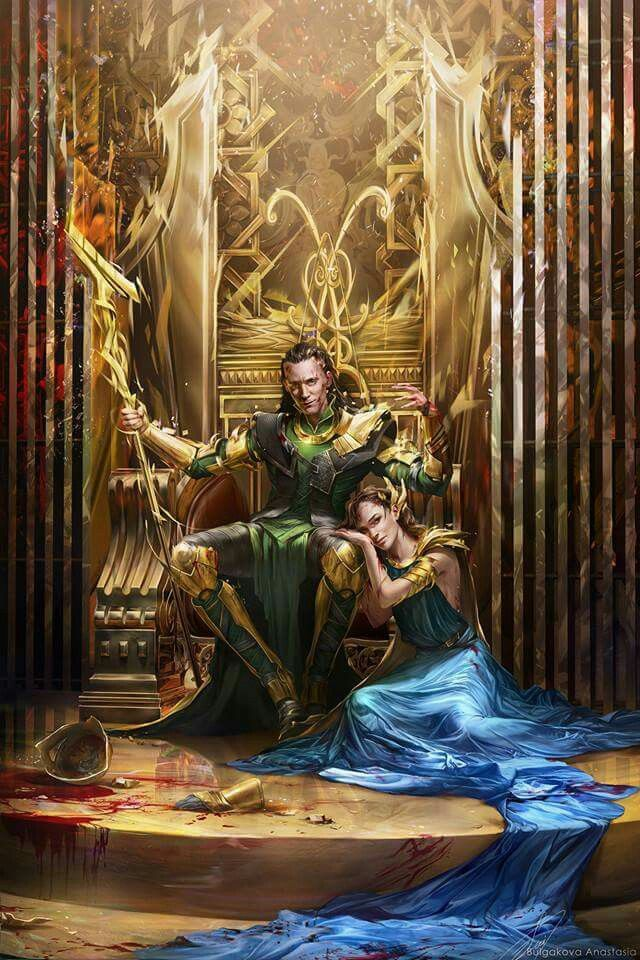 Don't know if this is a fangirl or Sigyn, but love this picture.|| EDIT: I found the artist!!! This is Loki and Jane! http://sinto-risky.deviantart.com/art/Traitors-542213225