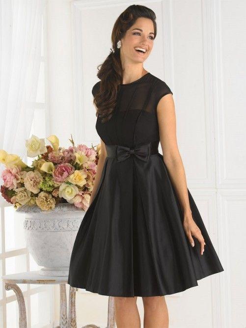 A-line/Stile Principessa Barchetta Knee-length Taffettà Bridesmaid Dress