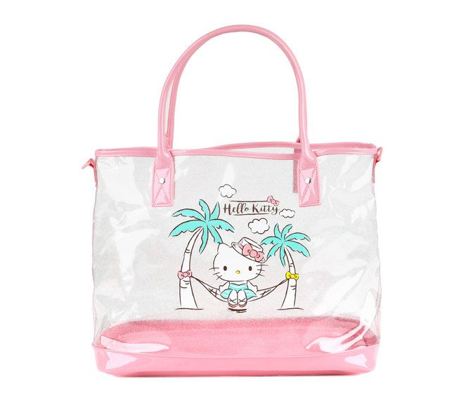 d6cab353ad3b Glitter delights on this perfect-for-summer 2-way Hello Kitty tote! Double  vinyl handles in a pretty shade of pink