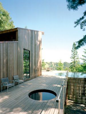 Modern California cabin, built mostly from reclaimed materials