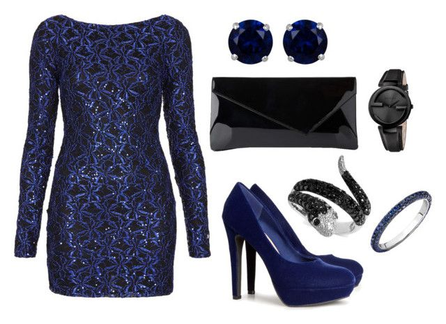Blue Party by tamaraispeople on Polyvore featuring Topshop, H&M, L.K.Bennett, Effy Jewelry, Reeds Jewelers and Gucci