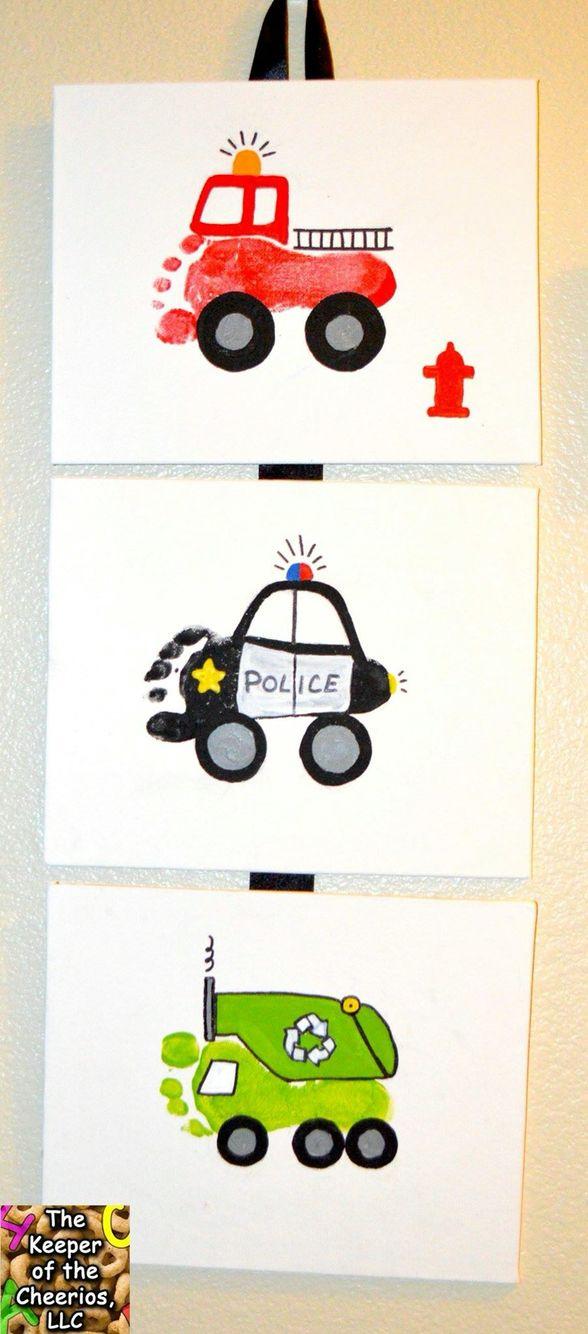 Fire Truck, Police Car, & Garbage Truck footprints & handprints