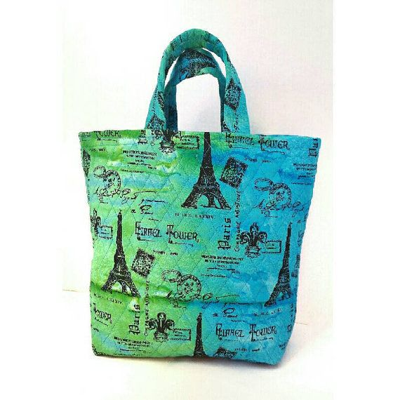 Quilted tote bag $50+ shipping Eiffel Tower print gifts for her https://www.etsy.com/listing/264551019/large-tote-bag-quilted-eiffel-tower