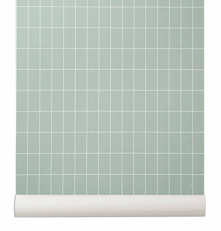 Het 'Grid' behang uit de Ferm Living collectie is een behang met een lekker strak ruit patroon, maar in een lieve superzachte groene kleur. Lekker om te combine
