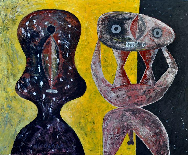 Nicolaas Maritz, Two Rural Goggabies, 2009/14, enamel paint on board, 1220 x 1520mm