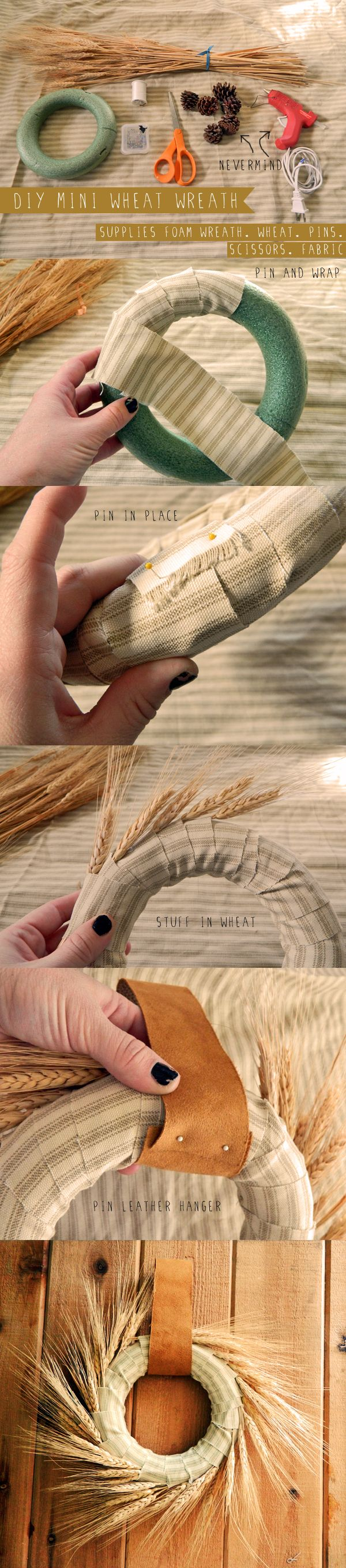 DIY Mini Wheat Wreath. Thanksgiving Chair Decorations