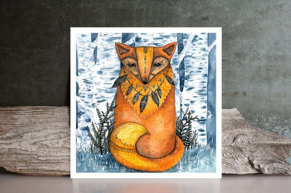 fox forest Watercolor Painting  PRINT native / by NORAillustration