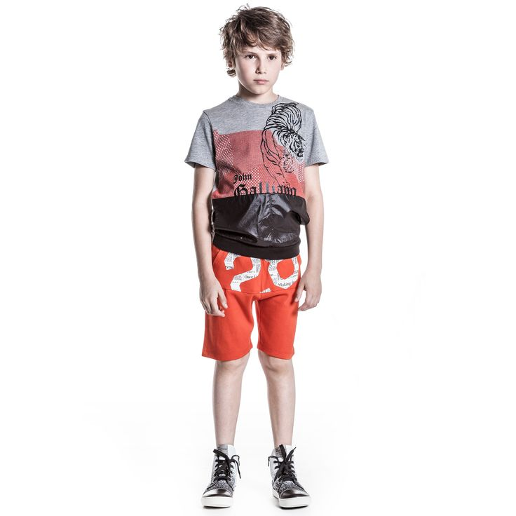 John Galliano - Boys Orange Cotton Jersey Gazette Print Shorts | Childrensalon