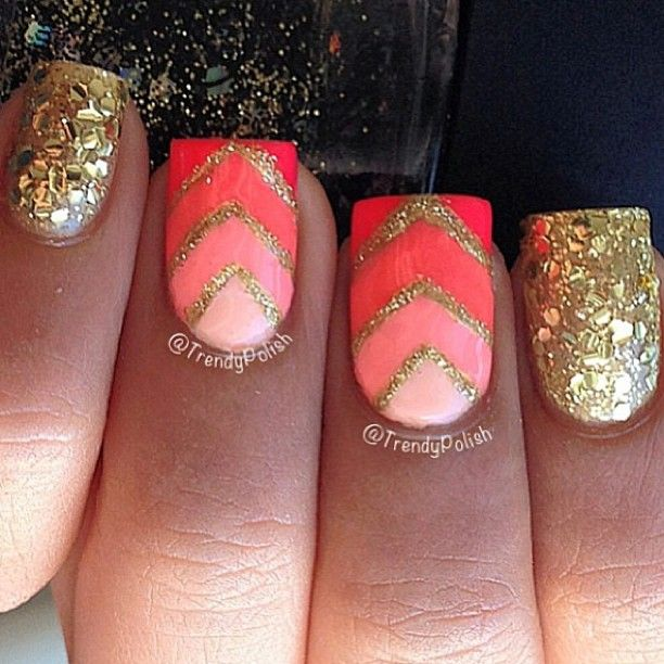 Sparky sparky nails!! ✨ Coral chevron mani ❤ Nails by @Trendy Polish - @thenailartstory- #webstagram