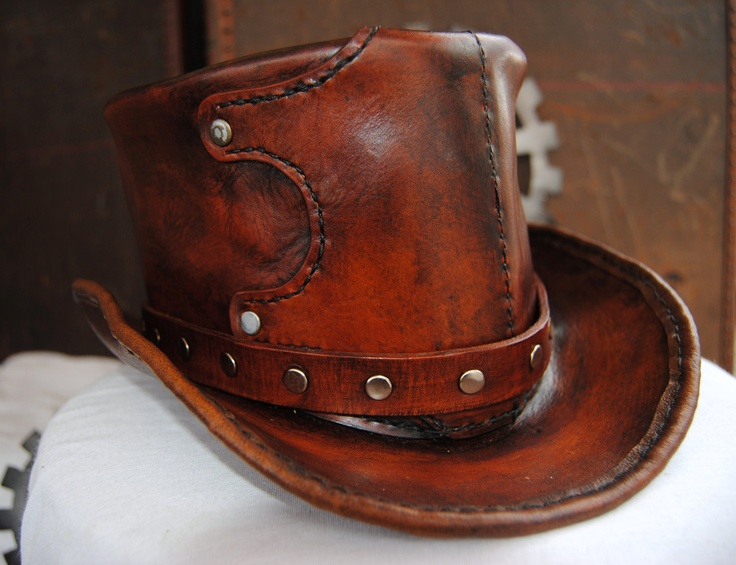Hand-made leather top hat - choose your size.