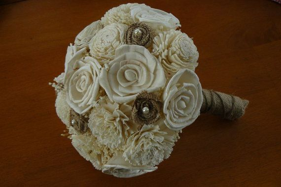 Wedding Burlap Bouquet Sola Bouquet by TheBloomingCorner on Etsy - If ANYONE you know is planning a wedding this year tell them about Annette's shop. They will have THE most beautiful flowers AND flowers everyone in the bridal party can keep forever --