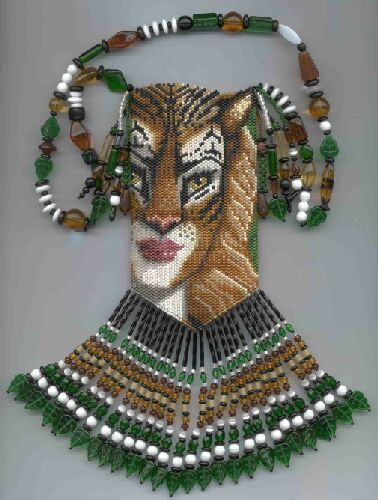 Tiger Woman - beaded amulet pattern by Chris Manes of A Muse Ink Beadwork Designs