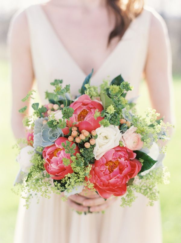 pink peony, rose and ranunculus bouquet with succulents, maidenhair fern and hypericum berries by Heatherlily