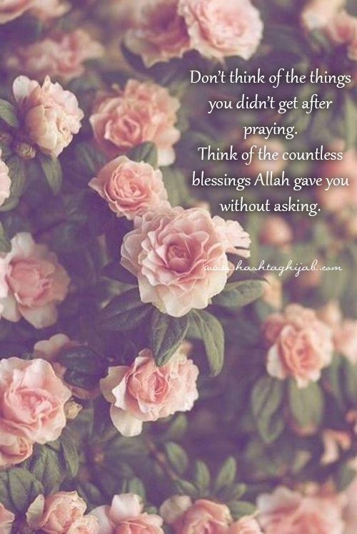 Don't think of the things you didn't get after praying. Think of the countless blessings Allah gave you without asking.