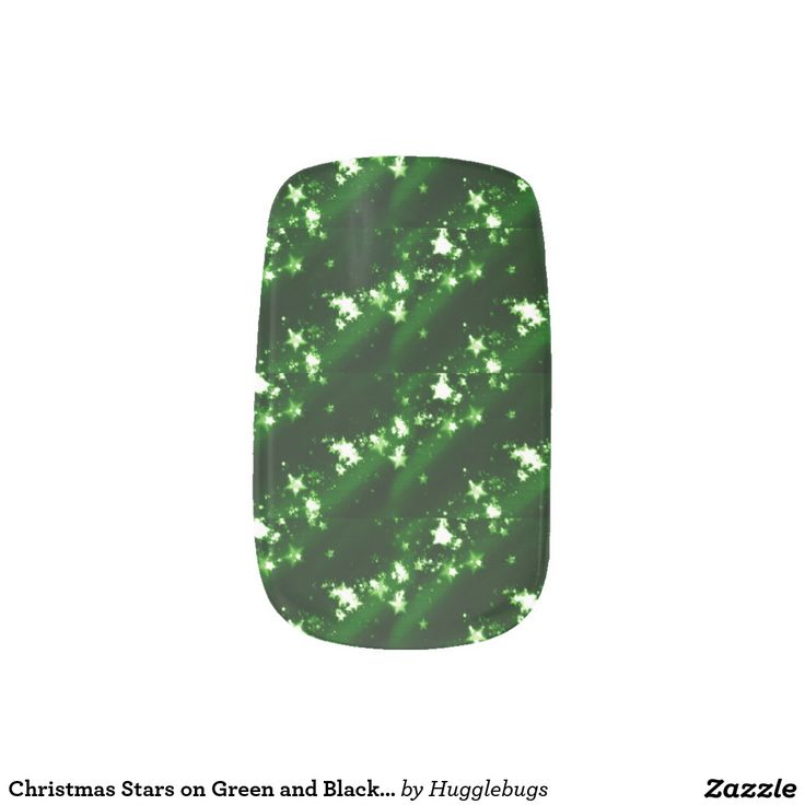 Christmas Stars on Green and Black Minx Nail Art