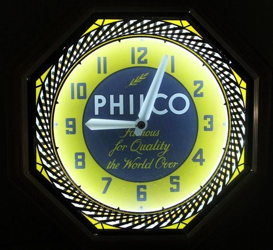 RARE Antique PHILCO Radio Advertising Electric NEON Mechanical Clock Sign