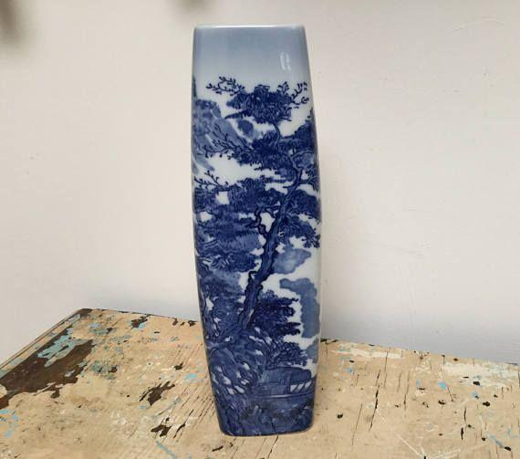 Vintage Japanese Porcelain vase in white with blue landscape
